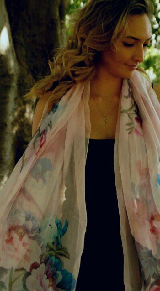 Pale Pink Floral Silk Scarf