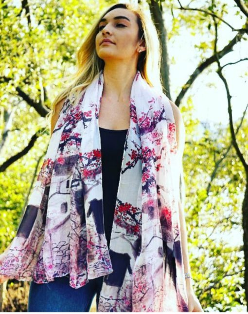 Japanese Garden Silk Scarf